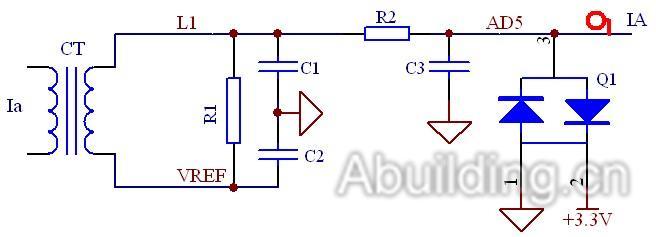 图2 电流采样电路图   频率采样电路如图3所示。该电路采用MCP6002双运放进行两级放大,初级放大倍数较小,且在初级与次级之间进行滤波处理,次级运放将交流信号整形为方波信号,通过边沿触发方式捕捉,然后在CPU内部计算测量频率。